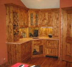 Knotty Alder Kitchen Cabinets - Solid Wood Construction.