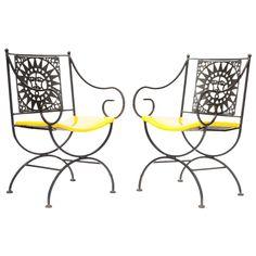 @Lori Babin  1960's Whimsical Wrought Iron Sunburst Directoire Armchairs #yellow #decor #interiordesign (via @1stdibs)