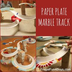 Build a marble track using the rims from paper plates - awesome idea!