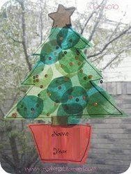 #Christmas tree sun catchers. Great activity for #kids!