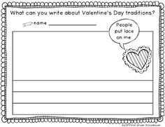 What can you write about Valentine's Day traditions? printable by First Grade Schoolhouse. FREE!!! download.