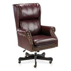 The old style dark leather arm chair with the added bonus of the modern swivel. so handy. Brought to you by Shoplet.com - everything for your business. arm chair, offic decor, tilt chair, office chairs