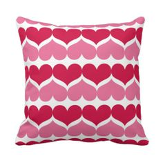 Pink and Red Hearts Patterned Accent Pillow