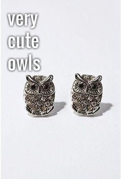 Pave Owl Post Earring post earring, urban outfitters, style, owl jewelry, owl post, owl earring, jewelri, owls, earrings