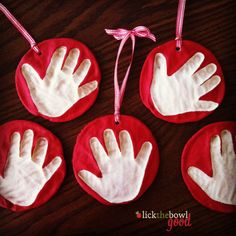 DIY Salt Dough Handprint Ornaments- going to shake things up and have kids do this for Valentines Day craft