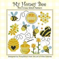 Will you be my honey bee? Lots to love with this honey bee sampler! Bright cheerful colors for the love of your life. crossstitch, honey bees
