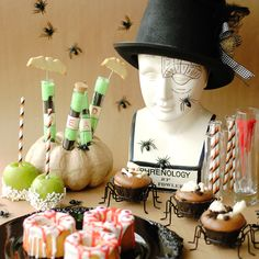 A Halloween Monster parade (Photos by Gloribell Lebron) Cool way to decorate your desserts.
