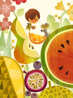 Joey Chou - fruit, flowers, watercolor,graphic, little boy