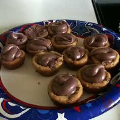 Bake chocolate chip cookies in mini muffin pan....good little snack for anything! Also can top with icing....