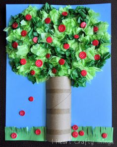 Apple Tree Craft ~ Johnny Appleseed Day I via HEART CRAFTY THINGS. #apple #art #craft #diy #tp #toiletpaper #buttons #buttonart #recycle #kids #children #preschool #prek #kindergarten #home #weekend #parenting #backtoschool #appleorchard #johnnyappleseed #tree