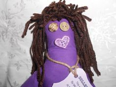 College Dammit Doll  Purple with long brown hair by tobeesgifts, $14.95