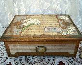 Vintage Jewelry Box, Altered Jewelry Box, wood jewelry box
