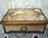 Vintage Jewelry Box, Altered Jewelry Box, wood jewelry box