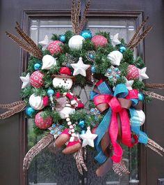 Texas Winter Wreath Cowboy Snowman Western Wreaths by LuxeWreaths, $159.00