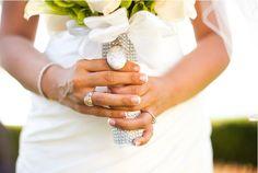 Silver + white wedding bouquet