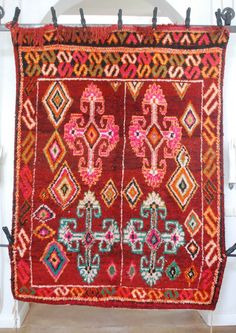 Beautiful, psychedelic Moroccan patterns in this Moroccan carpet rug.  Would be amazing in a living room, den or foyer. Moroccan decor, Moroccan design, Moroccan decorating