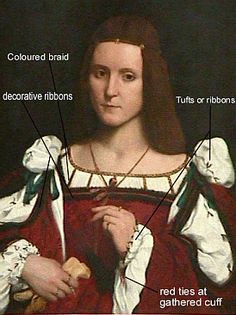Sleeves: there appears to be tufts or ribbons that    catch the material in a line down the sleeve. (Original portrait on the left). It also appears that the sleeve is folded overCatCam anotated port.gif (274×366)
