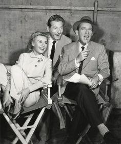 "Vera-Ellen, Danny Kaye, and Bing Crosby on the set of ""White Christmas"""