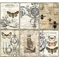 INSTANT DOWNLOAD diGital CoLLaGe Sheet ViNtaGe EpHeMera PaPer OwL BuTTerflieS PriNtaBle VintAge LaBelS FreNch SCriPts StaiNed,
