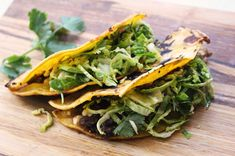 // Black Bean & Feta Tacos with Brussel Sprout Slaw