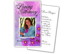 Memorial Prayer Cards: Sparkle Floral Printable DIY Prayer Card Templates