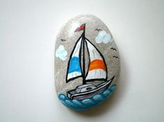 hand painted stone Sail Boat, paperweight, table decor! $20
