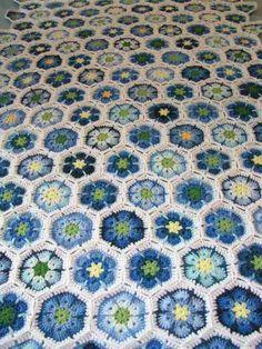 Blue crochet Hexagon
