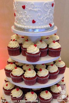 "Design W 0569 | 6"" Butter Cream Wedding Cake & Assorted Cupcakes | Fondant Heart Embellishments | Custom Quote"