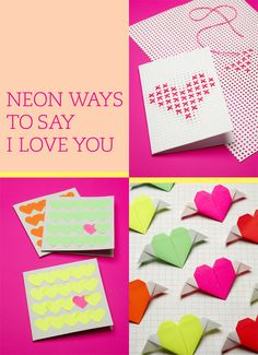 Neon Valentines, Heart Crafts for Teens , Fun and Easy Origami Hearts for Sweethearts, love, heart, pink, color, crafts, teen,