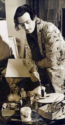 Salvador Dali in his studio