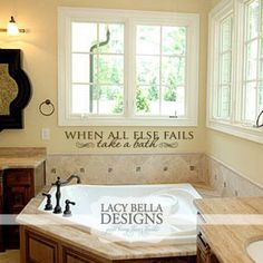 Bathroom decals on pinterest vinyl lettering wall decal for Garden bathtub decorating ideas