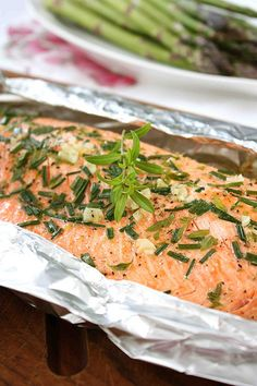 Barbecued Salmon in Foil with Tarragon, Chives & Vermouth Recipe by CookinCanuck, via Flickr