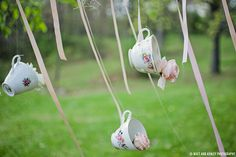 Magical Alice In Wonderland Wedding Vintage tea cups with pink roses