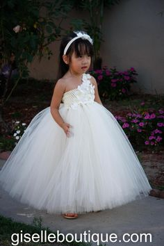 Flower girl dress. Ivory with Ivory flowers and Pearls.  - Would love the flowergirl to wear something like this.