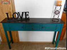 This entry table is absolutley gorgeous!  Shabby Chateau, https://www.facebook.com/HerShabbyChateau?fref=ts, stained the top with GF's Java Gel Stain. You can find your favorite GF products at Woodcraft, Rockler Woodworking stores or Wood Essence in Canada. You can also use your zip code to find a retailer near you at http://generalfinishes.com/where-buy#.UvASj1M3mIY.