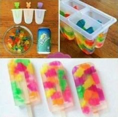 Sprite with Gummie Bears Popsicles.