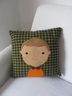 Character Wool Fabric Cushion FREE SHIPPING boy by OoohBetty, $48.50