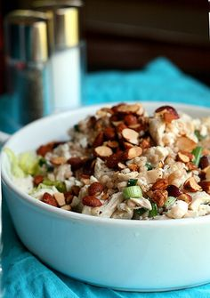 Honey Feta Chicken Salad with Grapes and Almonds