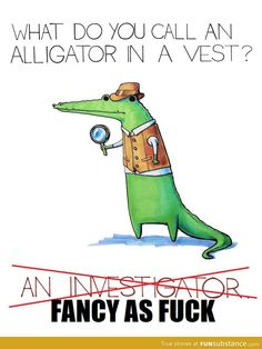 What do you call an alligator wearing a vest?  this joke originally cracked me up for no reason.... even better now.