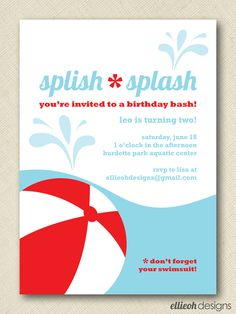 splish splash pool party invite PRINTABLE 5x7 digital file DIY. $15.00, via Etsy.