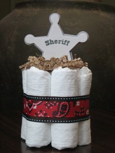 THREE LITTLE COWBOY Mini Diaper Cakes for Baby Shower Decoration or New Baby Gift