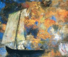 Odilon Redon (French; Post-impressionism, Symbolism 1840–1916): Flower Clouds, 1903. Pastel on paper, 44.5 x 54.2 cm. The Art Institute of Chicago, Chicago, Illinois, USA.