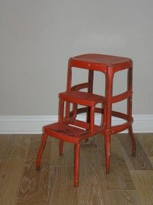 """Abigail - Orange Step Stool  Orange metal stool or side table    13½""""L x 11″W (top, not extended) x 24¼""""H    $20"""