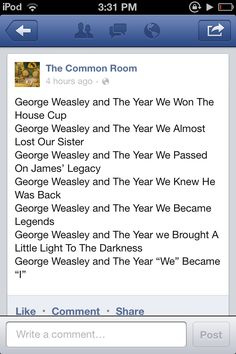 If George Weasley was the main character...the last one makes me sad =(