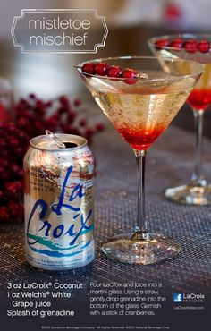 Here's a mocktail version of our Mistletoe Mischief.  A perfect drink for those who want a gorgeous, sophisticated, but non-alcoholic drink this holiday.  #bemerryandlite, #livelacroix, #mocktail