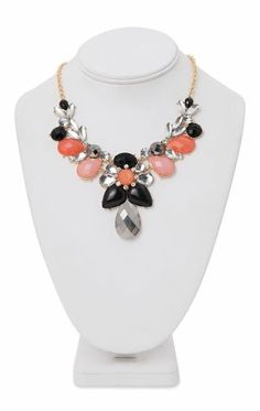 Deb Shops Statement Necklace with Three Colored Teardrop Stones $5.00