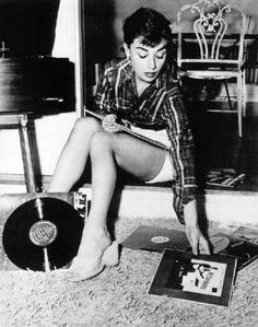 Audry Hepburn spinning some tunes.