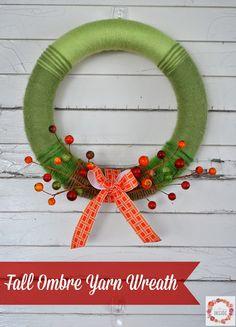 DIY Fall Wreath -- Fall Ombre Yarn Wreath from @allison_m