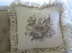 birds in a nest double ruffle pillow by tickingandtoile on Etsy, $39.00