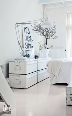 Pure #white #interior #natural #living room